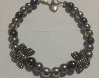 Silver Butterfly Beaded Bracelet