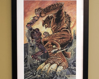 Pacific Rim, Kaiju Grapple, Watercolor Painting, Framed, Art, Monster, Kaiju, Battle