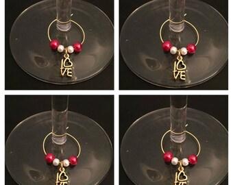 4x LOVE wine glass charms