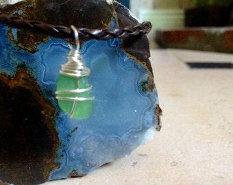 Sea Glass Pendant Necklace | Seafoam Green/Silver