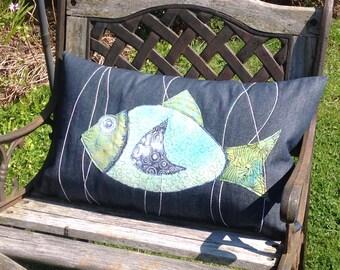 Percy - Denim Fish Cushion