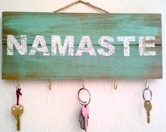 Namaste / Jewelry Holder / Key Holder / Necklace Holder / Key Hook / Necklace Display / Necklace Hanger / Key Hanger / Wood Sign / Gift