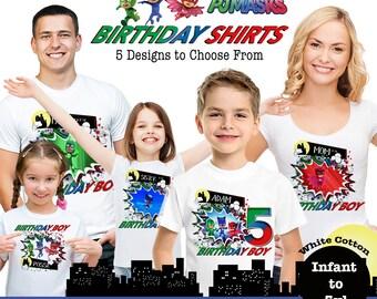 PJ Masks Birthday Shirts, Disney Family Birthday Tshirts