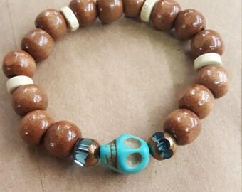 Handmade wood and glass bead bracelet