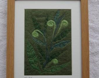Leaves and ferns felted artwork