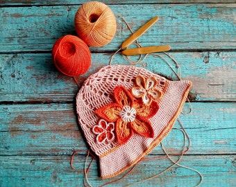 Cute little girl's Panama hat , crochet panama hat, flowers panama hat