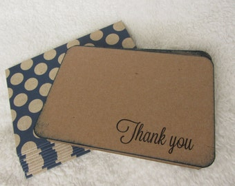 Thank You notecards, set of 10, navy blue and kraft polka dot