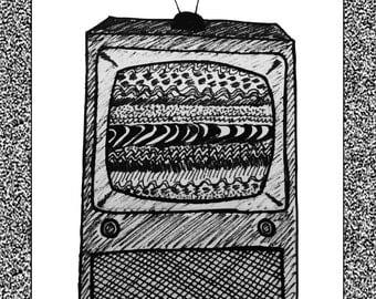 "White Noise TV Set 15x10"" Print"
