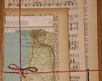 Vintage paper bundle, vintage map, book pages and sheet music, for scrapbooking and paper crafts