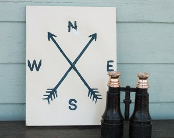 Compass sign, wanderlust, adventure,arrow, north south east west, boho, wander, lost Magnolia Market, Farm House Decor, vintage, rustic