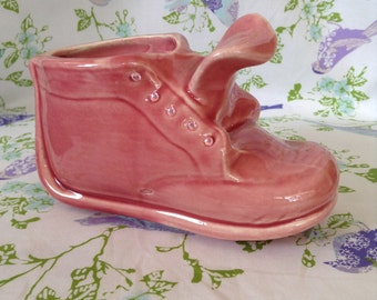 Vintage Pink Baby Shoe Planter with bling nursery home decor housewarming ceramic