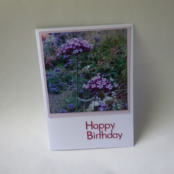 Birthday Card with Pink and Purple Flowers - #565
