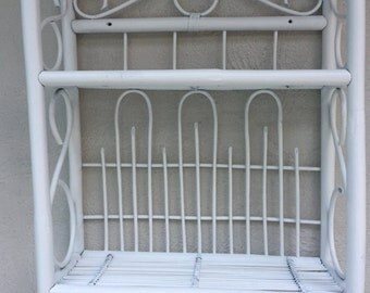 Vintage wicker shelf, Real Wicker, Free Standing shelves, Stand,