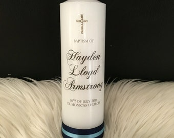 22cm or 15cm Personalised Baptism Christening Candle