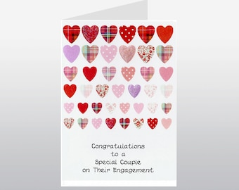 Engagement Card Rows of Hearts WWWE68