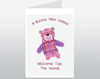 Scottish Baby Card Tartan Teddy Girl WWBA23