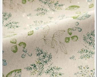 Green Branch Cotton Linen Blend Fabric for Upholstery Curtain Bag Tablecloth DIY Handcraft