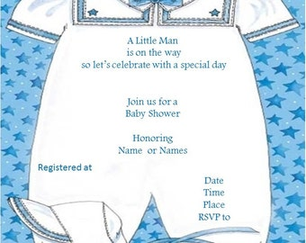 Boy Baby Shower Invitation Printable Digital I Customize, you print