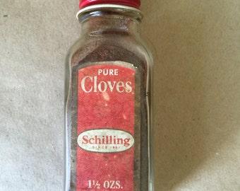 Vintage Bottle of Schilling Ground Cloves. Kitchenalia. Vintage Kitchen Decor