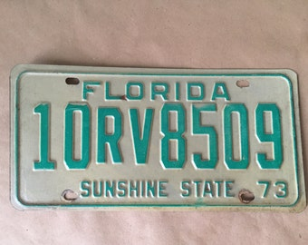 1973 Vintage Florida RV License Plate Sunshine State Recreational Vehicle License Plate