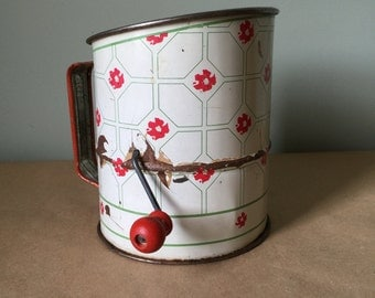 1940s Vintage Flour Sifter. Red and White Enameled Crank Sifter