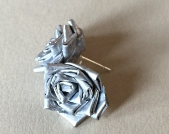 Silver Duct Tape Rose Earrings