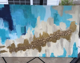 Gold Foil Abstract Art Painting