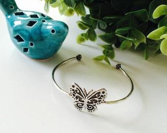 Silver bracelet butterfly