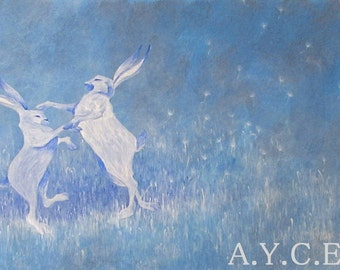 """Original painting """"dancing hares""""-blue-painted acrylic illustration-home-decoration painting animals"""