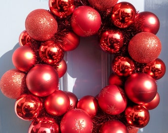 Ruby Red Bauble Christmas Wreath