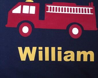 Monogrammed Kids Firetruck Shirt