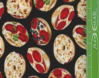 Bagel Pizza,Party, on black,Benartex Fabrics