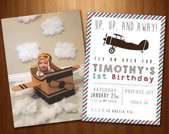 Vintage Airplane First Birthday Invitation- Digital File
