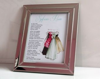 Personalised prom keepsake gift for daughter poem school leavers graduation photo print picture