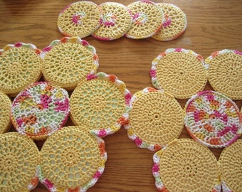 Yellow Crocheted CD 4 Placemat Set, Recycled CDs, Flower Placemats, Placemat Set, Christmas Gift