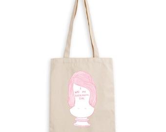 I was an experimental girl tote bag screen print