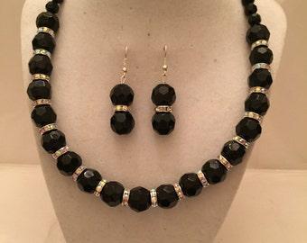 Black Crystal Sparkle Jewelry Set