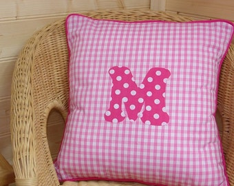 Pink Gingham Letter Cushion ~ Initial