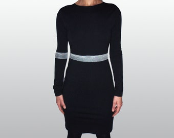 Fitted Elegant Women's Silver/Black Dress/Black Smart Dress/Black Pencil Dress