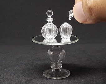 Vintage perfume bottles and lid and table glass for dollhouse miniature