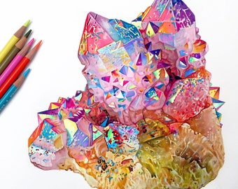 Colored Pencil Crystal Drawing