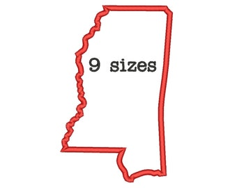 9 Sizes Mississippi State Appliqué Embroidery Machine Embroidery Designs Embroidery USA State Outline Design - Instant Download