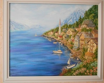 Landscape Home Decor Oil Painting on canvas  Original painting Wall decor Holiday Seascape  Mountains  Austria