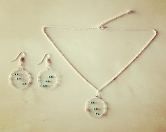 3 Green Inductors set (earrings + necklace)