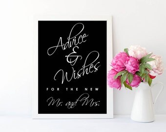 Wedding Advice and Wishes for the New Mr. and Mrs. | Advice for the Couple | Black and White Wedding Sign | Bridal Shower Advice Game