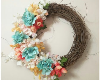 Wreaths Spring Wreath, Summer Wreath, Floral Wreath, Beautiful Flowers, Front Door Wreath. Makes a great gift!