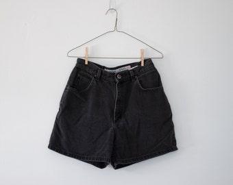 Vintage 80's Black Denim High-waisted Shorts