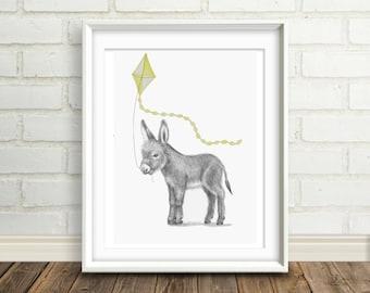 Baby Donkey.Nursery Art.Kid's Wall Art. Kid's Room Print. Baby's Room. Nursery Decor, Baby Animal. Animal Print. Kid's Wall Art.