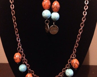 Turquoise and Orange Necklace and Earrings
