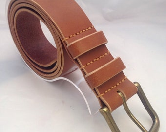 """Handmade Italian Bridle Leather belt in Newmarket Tan 1.5"""" wide hand tooled belt Solid Brass Antique finish Buckle - hand stitched"""